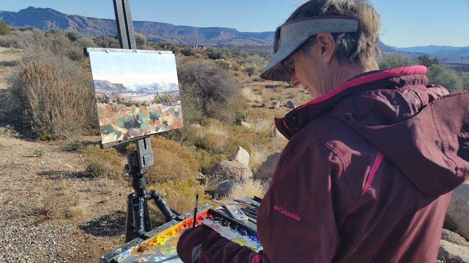 Cedar City artist Mary Jabens paints in plein air at Silver Reef near Leeds, Utah, date not specified. Jabens will be one of the featured artists during the Arts to Zion 2017 studio tour, which invites the public to see artists at work in their home studios, galleries, museums and in plein air. The 2017 tour will be held Jan. 12-15, 2017, in Southern Utah | Photo courtesy of Arts to Zion, St. George News