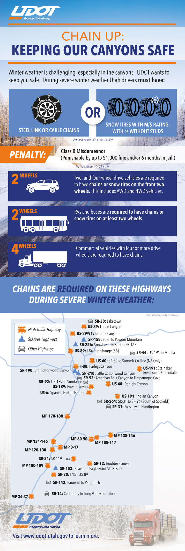 snow tire - chain - requirements - UDOT infographic