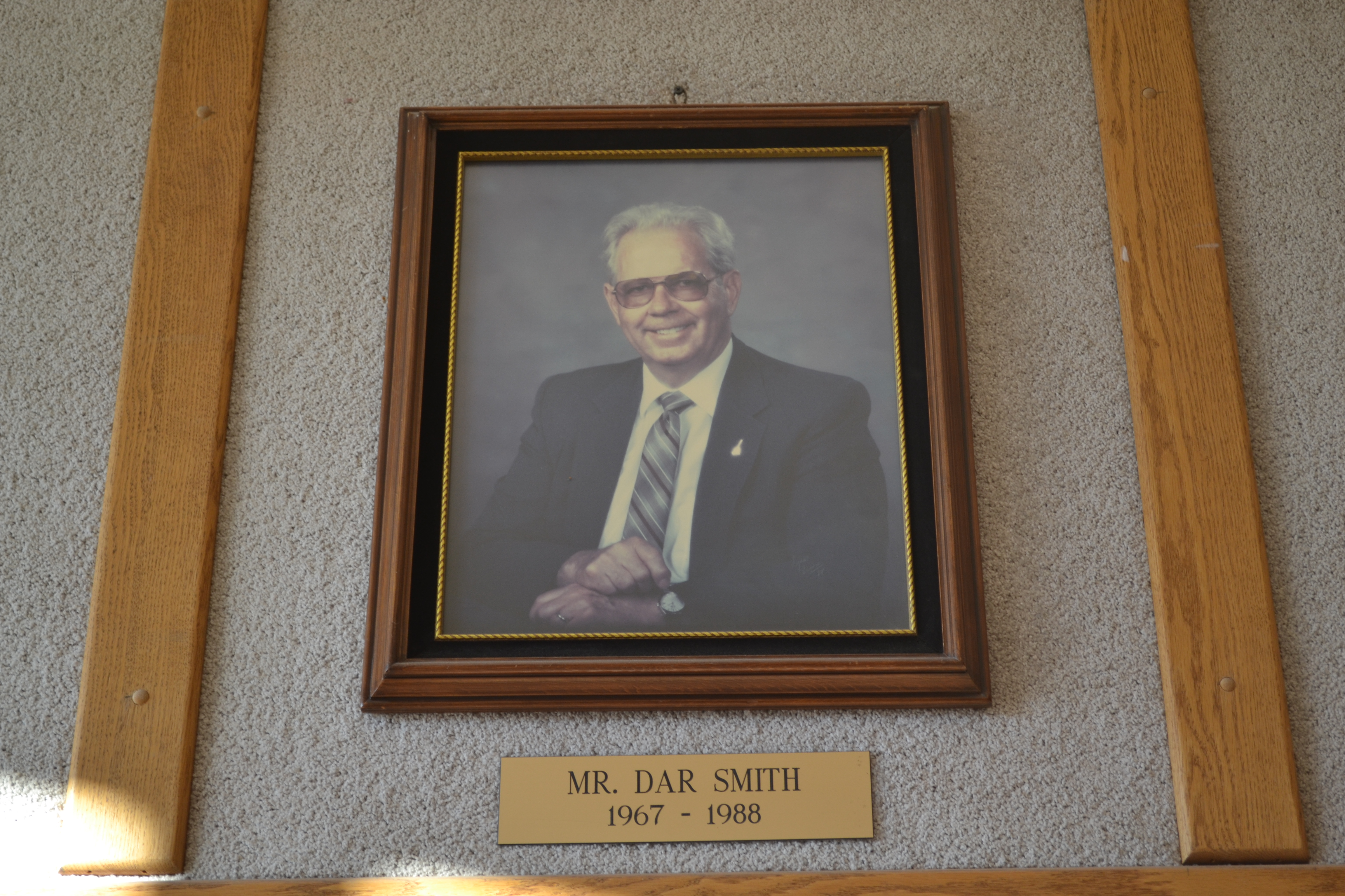 A photo of Dar Smith, principal of East Elementary from 1967-1988, hangs in the school, St. George, Utah, Nov. 7, 2016 | Photo by Joseph Witham, St. George News