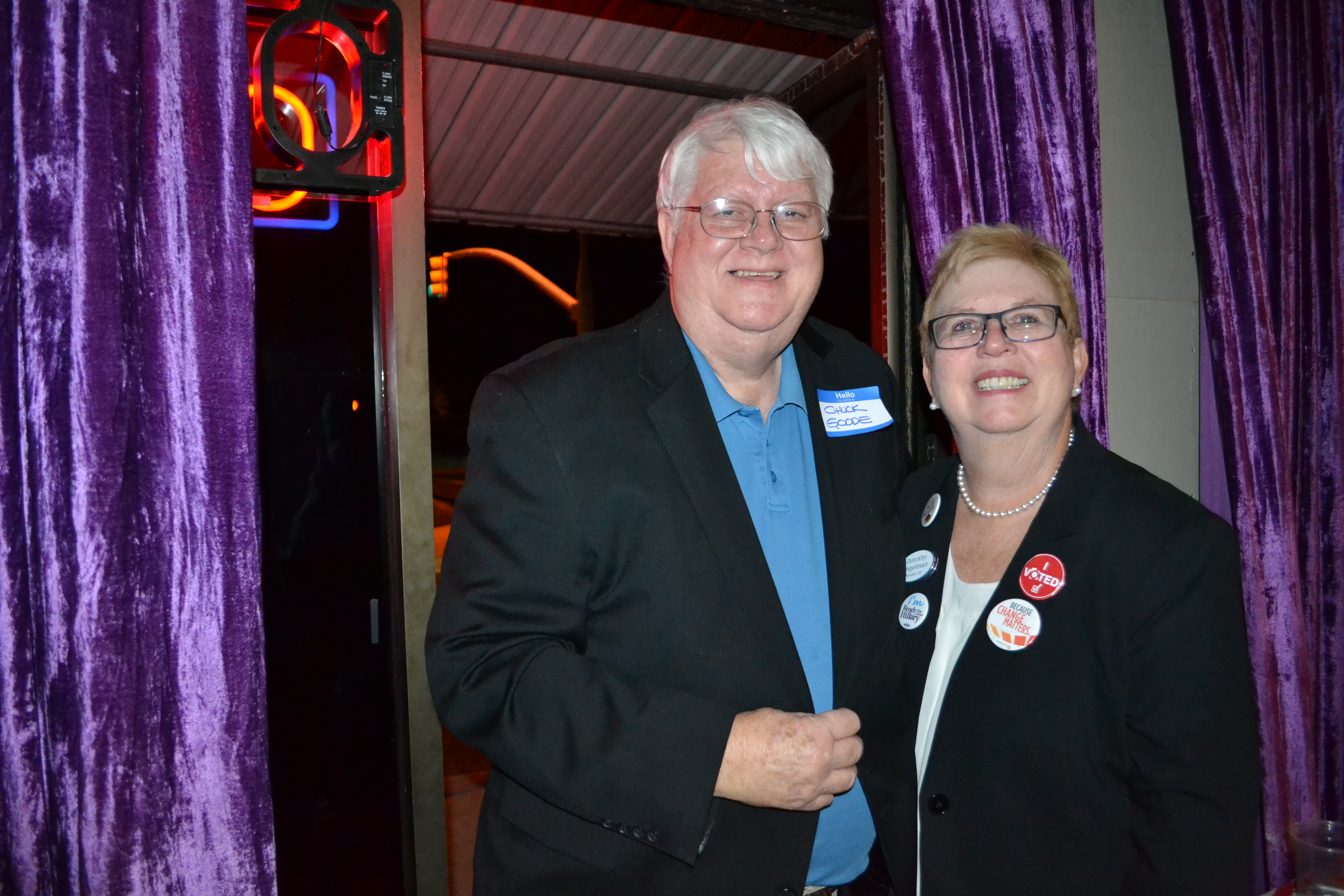 Democratic candidates for State Senate District 29, Dorothy Engelman, and State House District 71, Chuck Goode, attend a party for Washington County Democrats, St. George, Utah, Nov. 8, 2016 | Photo by Joseph Witham, St. George News