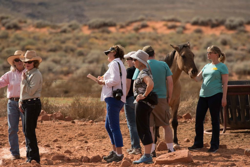 L-R: Directors Marcia Thayne and Martha Corton and participants in M.E.E.T. the Mustangs, Kayenta Korrals, Ivins, Utah, Oct. 29, 2016 | Photo by Jim Lillywhite, St. George News
