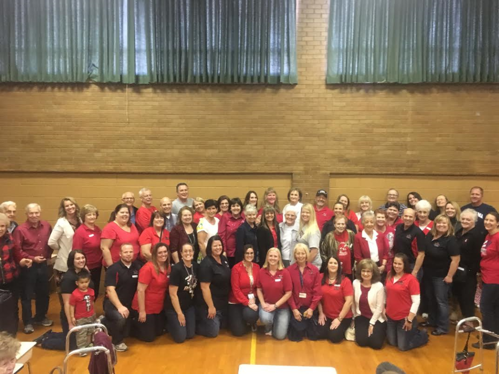 East Elementary staff and teachers past and present gather in the school's cafeteria for a group photo, St. George, Utah, Nov. 18, 2016 | Photo by Hollie Reina, St. George News