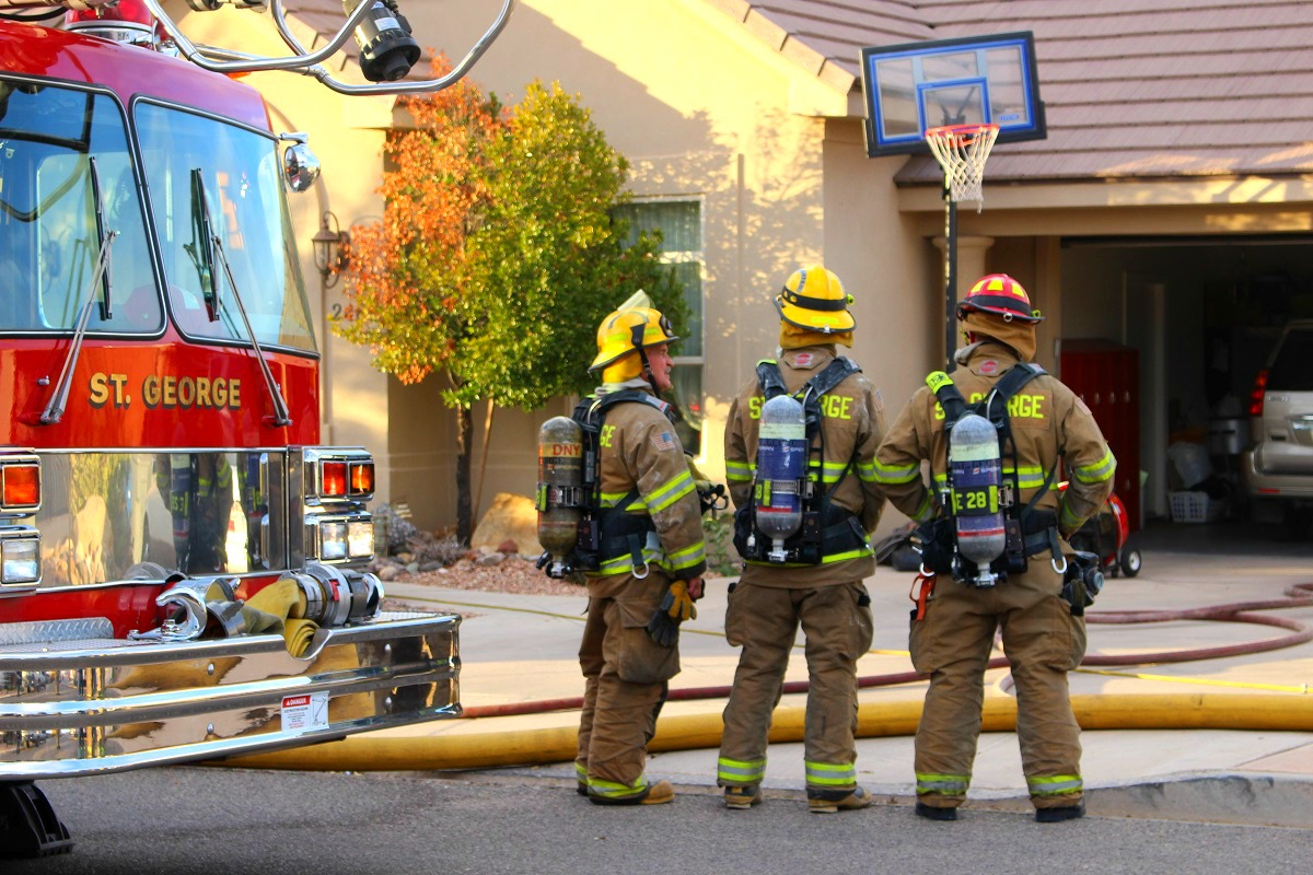 Firefighters respond to a residential structure fire after the homeowner calls 911 when smoke fills the attic area of the residence on 2830 South Street Wednesday, St. George, Utah, Nov. 30, 2016 | Photo by Cody Blowers, St. George News.