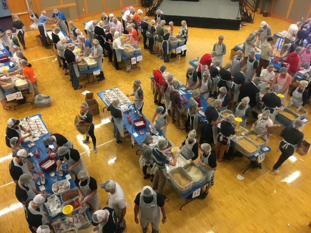 An aerial view of United Way Dixie's food packaging event shows hundreds of volunteers packaging meals, St. George, Utah, Nov. 1, 2016 | Photo by Hollie Reina, St. George News