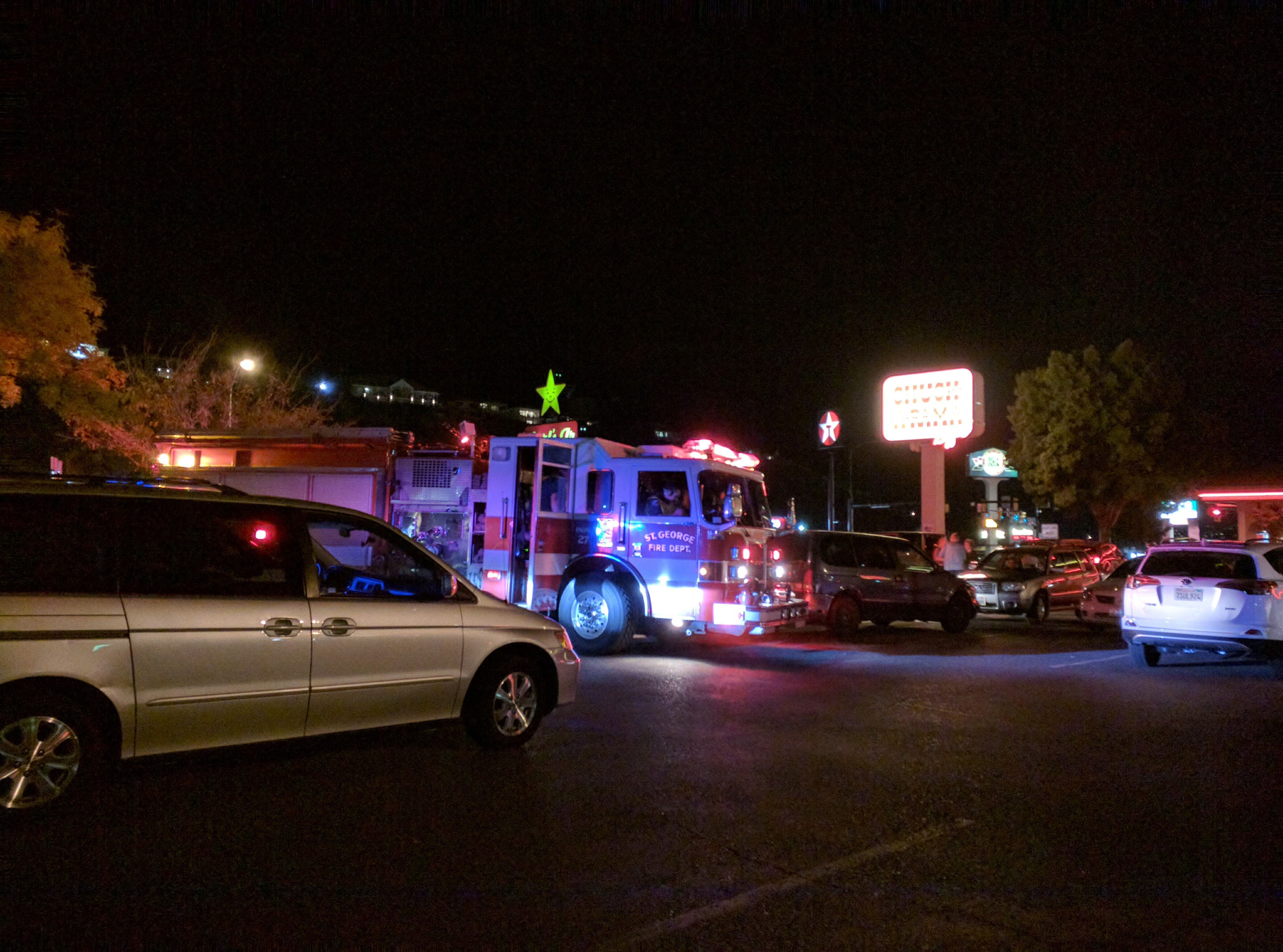 Emergency personnel respond after a woman was hit by a car in a parking lot, St. George, Utah, Nov. 3, 2016 | St. George News