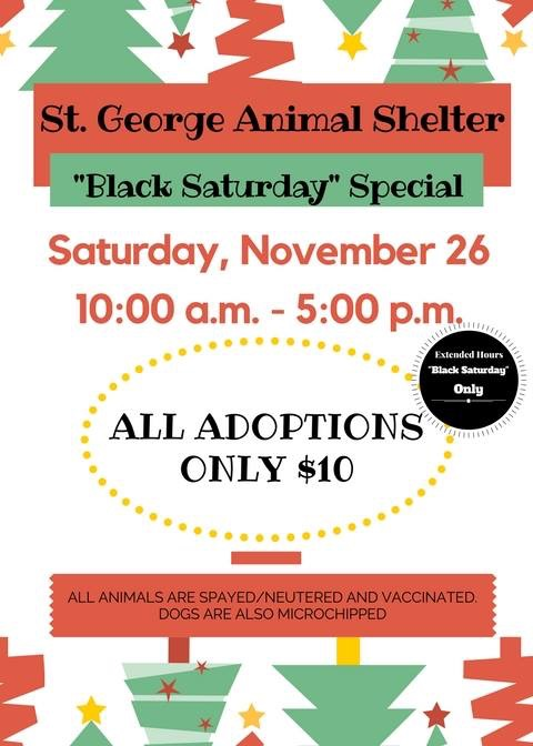 Flier for St. George Animal Shelter adoption event courtesy of St. George Police Department | Click on image to enlarge