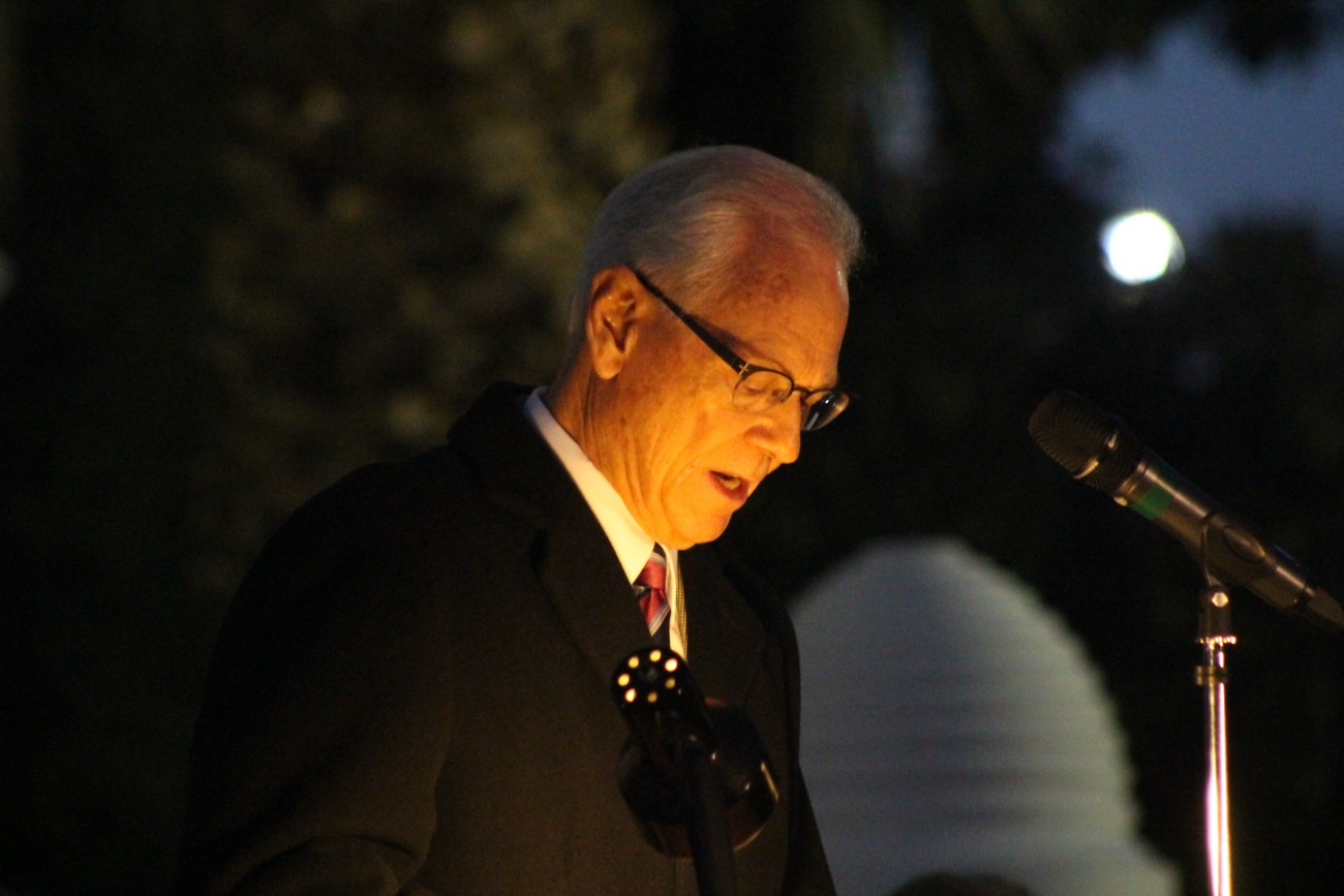 Annual lighting program lights up lds temple grounds for christmas randy wilkinson newly appointed president of the st george utah temple speaks as aloadofball Image collections