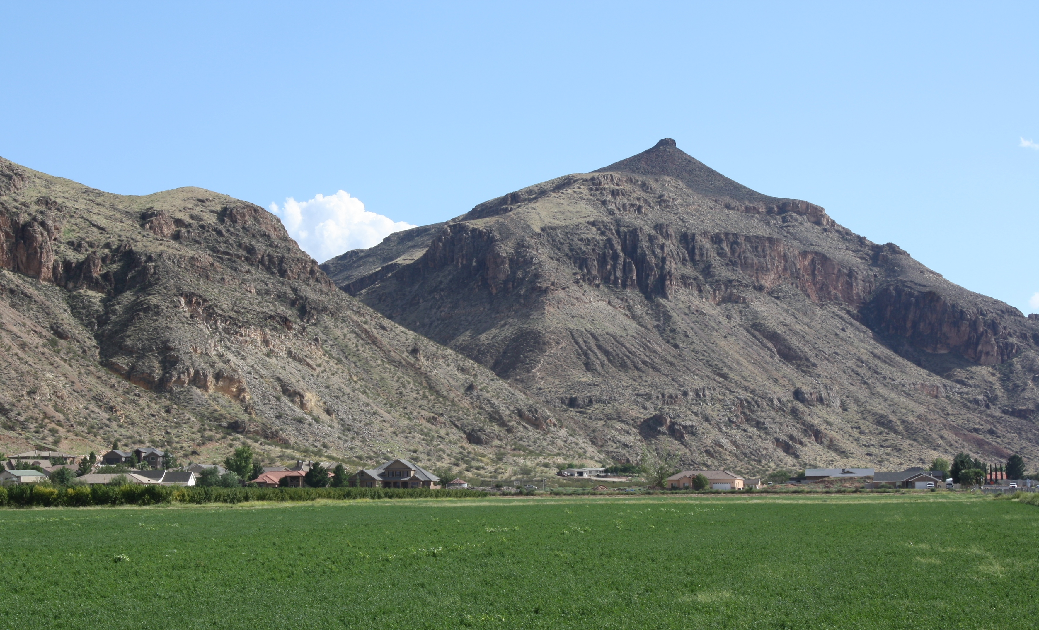 Mollies Nipple, prominent of above the south end of Hurricane, Utah
