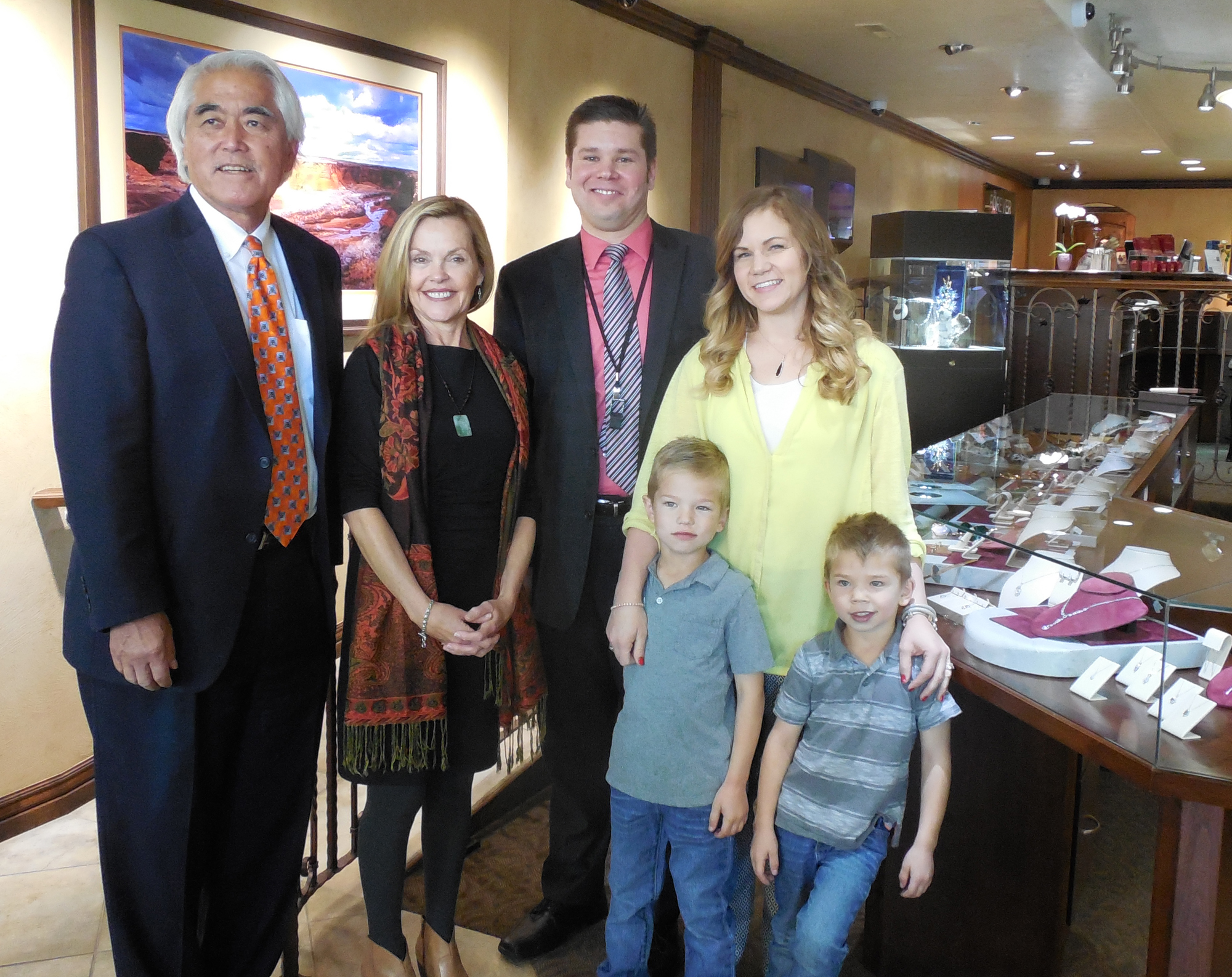 L-R: Stan Nakano, Betsy Marky, Jeremy Young, Megan Young and the Young's two sons in Forever Young Fine Jewelers, St. George, Utah, Nov. 17, 2016 | Photo by Julie Applegate, St. George News