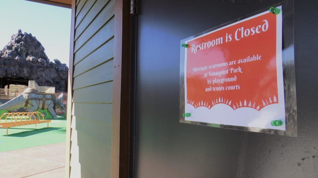 Restrooms at the Thunder Junction All Abilities Park are closed after a break in, St. George, Utah, Nov. 30, 2016   Photo by Sheldon Demke, St. George News