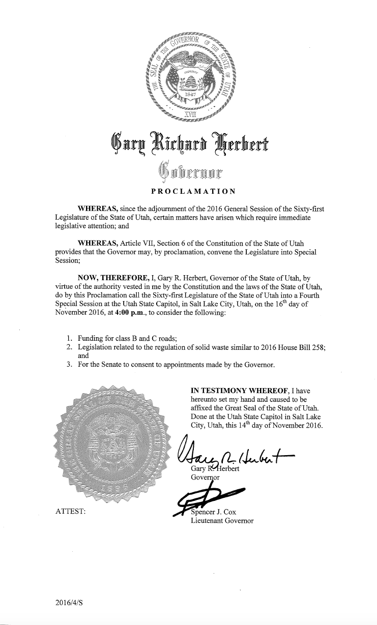 Gov. Gary Herbert's Proclamation calling Legislature to fourth special session of 2016, to be held at 4 p.m. Wednesday at the state Capitol, Salt Lake City, Utah, Nov. 16, 2016 | File courtesy of the governor's office, St. George News