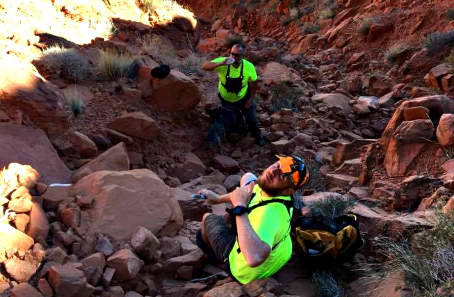Rescuers hiked on foot through steep and rugged terrain to locate lost hiker near Red Mountain trail Friday, Washington County, Utah, Nov. 11, 2016 | Photo courtesy of Darrell Cashin, St. George Newsl
