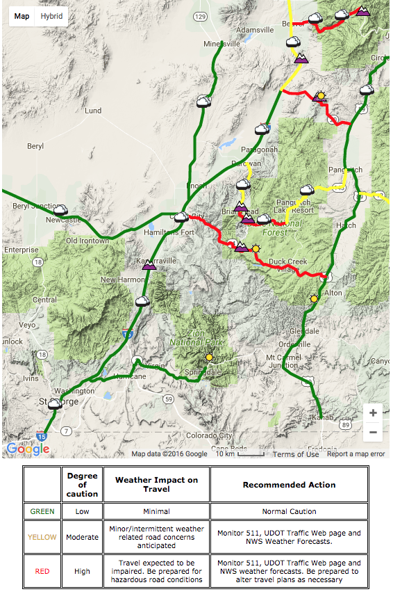 Road conditions in Southern Utah at 4:17 a.m. Monday, Nov. 28, 2016 | Map courtesy of Utah Department of Transportation, St. George News | For current conditions see UDOT webpage | Click on image to enlarge
