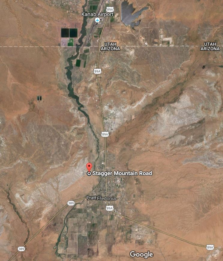 A screenshot of a map showing an area of North Stagger Mountain Road on the Arizona Strip where a search warrant was executed resulting in the arrest of five suspects who officials said have been supplying heroin and methamphetamine to residents along the rural areas on the Utah-Arizona border | Image courtesy of Google maps, St. George News