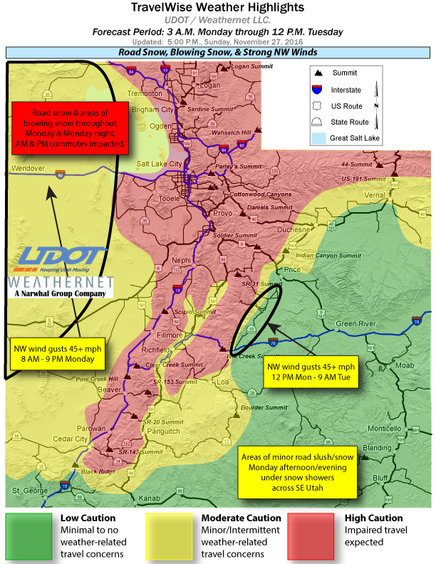 Weather highlights forecast by Utah Department of Transportation from 3 a.m. Monday through noon Tuesday, Utah, map generated Nov. 27, 2016 | Map courtesy of UDOT, St. George News | Click on image to enlarge