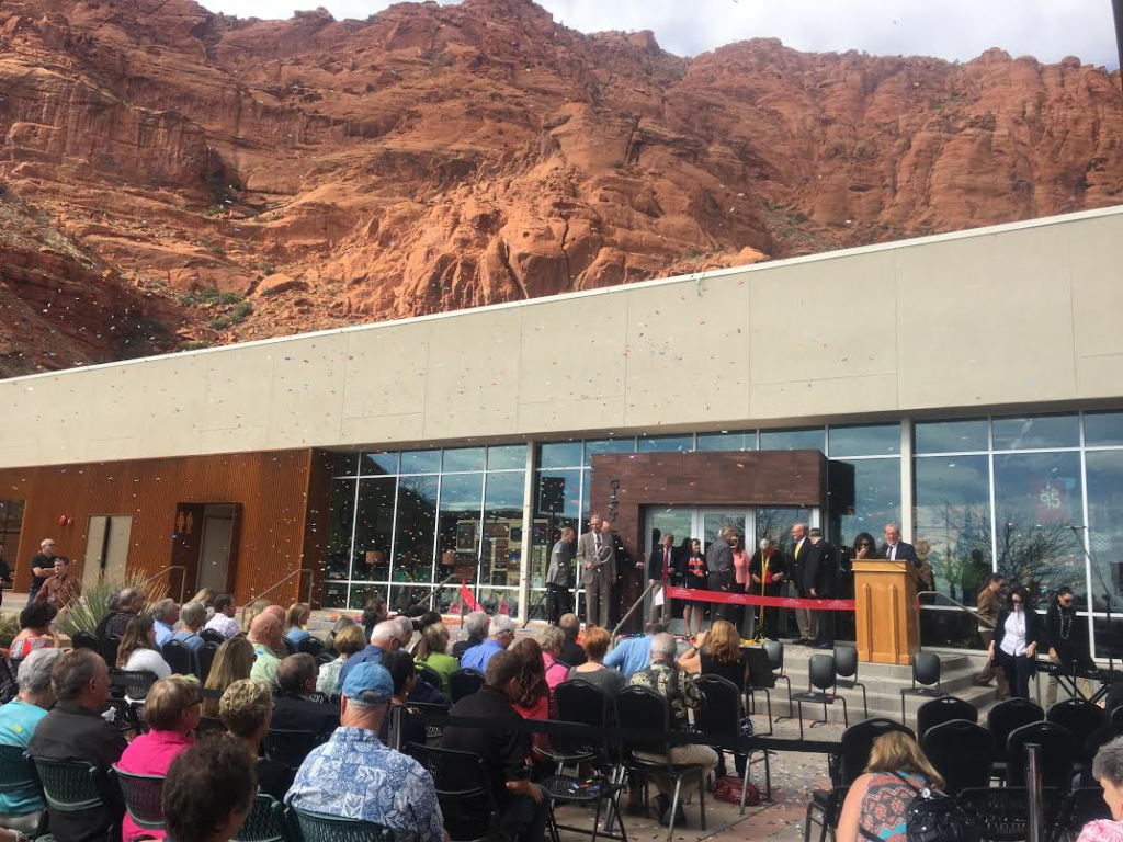 Guests are showered in confetti during a ribbon cutting ceremony for the new Tuacahn Arts Center, Ivins, Utah, Nov. 4, 2016 | Photo by Hollie Reina, St. George News