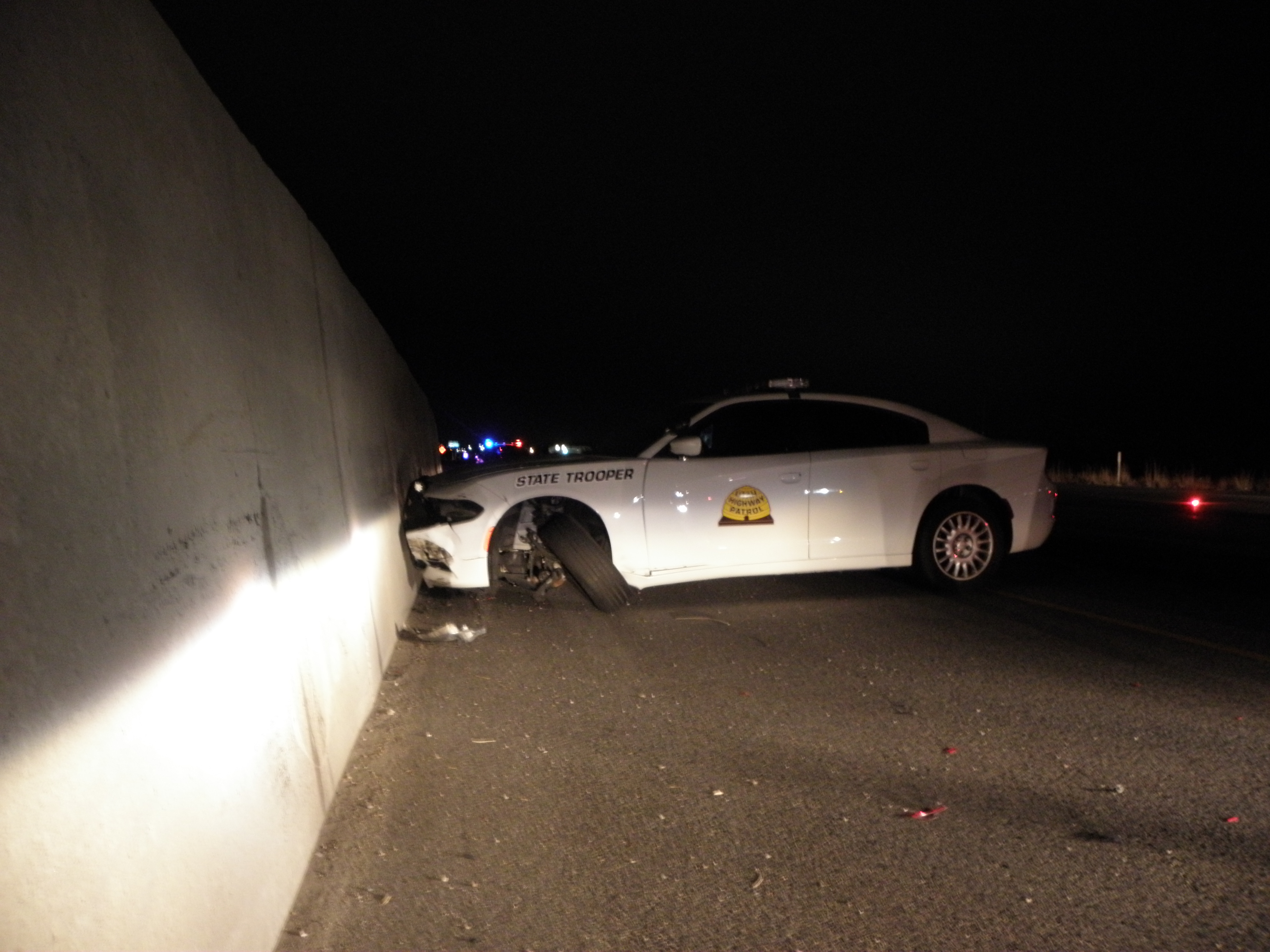 A UHP trooper in uses his patrol car to forcibly stop an intoxicated driver who was traveling in the wrong direction on Interstate 15 near mile marker 329, Davis County, Utah, Nov. 21, 2016   Photo courtesy of the Utah Highway Patrol, St. George News