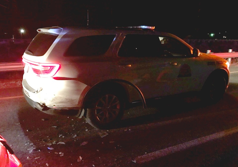 UHP patrol vehicle is struck by a Ford Focus while tending to the scene of another DUI crash Saturday on Interstate 15 in Washington, Utah, Nov. 20, 2016 | Photo courtesy of the Utah Highway Patrol, St. George News