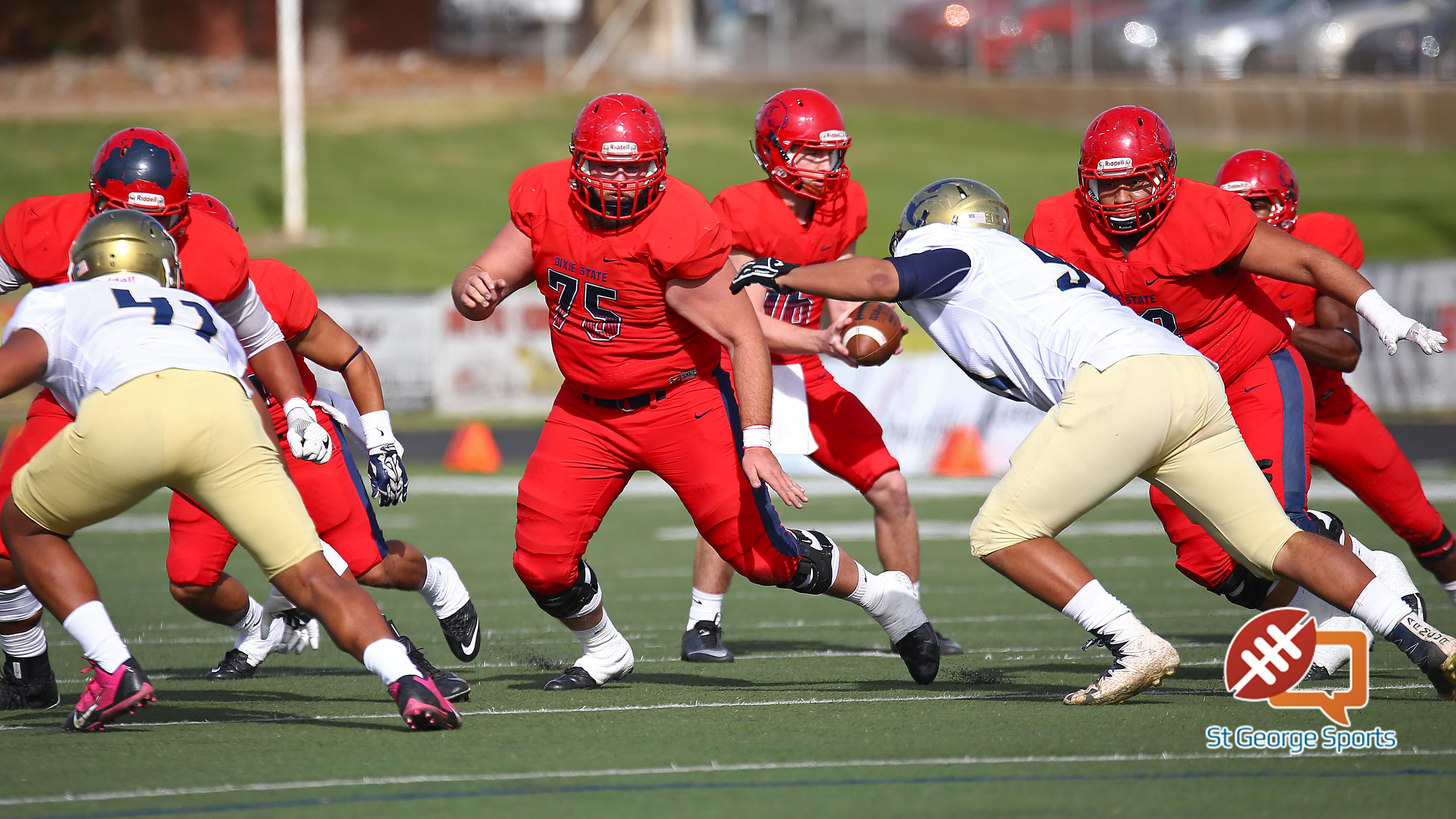 Dixie State's Chad Tripp (75), Dixie State University vs. Fort Lewis University, St. George, Utah, Nov. 12, 2016, | Photo by Robert Hoppie, ASPpix.com, St. George News