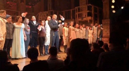 "In this image made from a video provided by Hamilton LLC, actor Brandon Victor Dixon who plays Aaron Burr, the nation's third vice president, in ""Hamilton"" speaks from the stage after the curtain call in New York. Vice President-elect Mike Pence is the latest celebrity to attend the Broadway hit ""Hamilton,"" but the first to get a sharp message from a cast member from the stage, New York, New York, Nov. 18, 2016 Hamilton LLC via AP, St. George News"