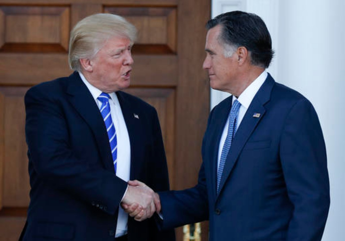 President-elect Donald Trump and Mitt Romney shake hands as Romney leaves Trump National Golf Club Bedminster in Bedminster, N.J., Saturday, Nov. 19, 2016 | AP Photo/Carolyn Kaster. St. George News