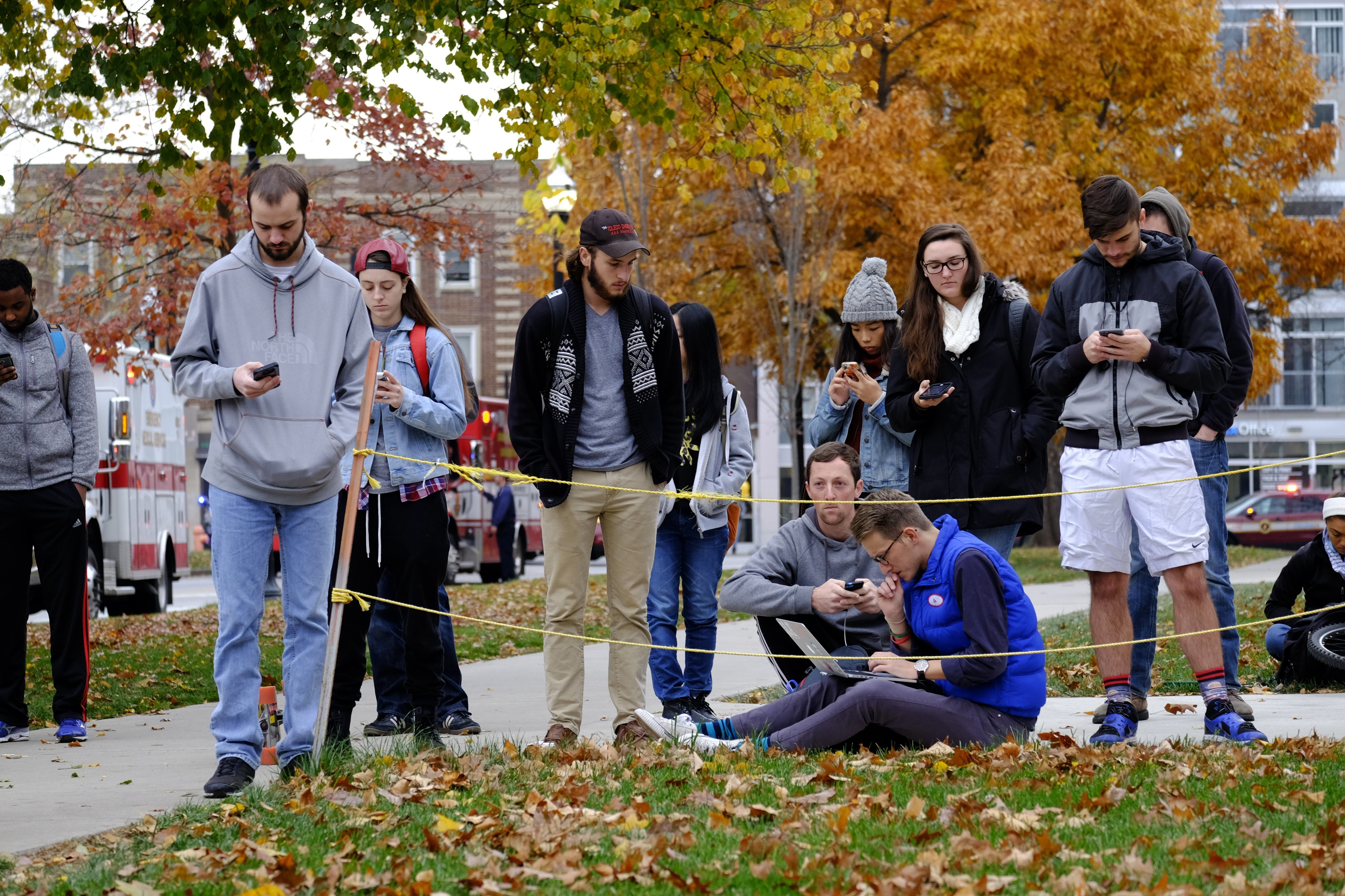 Students gather near the scene of an attack on the campus at Ohio State University on Monday, Nov. 28, 2016, in Columbus, Ohio. | Adam Cairns/The Columbus Dispatch via AP, St. George News