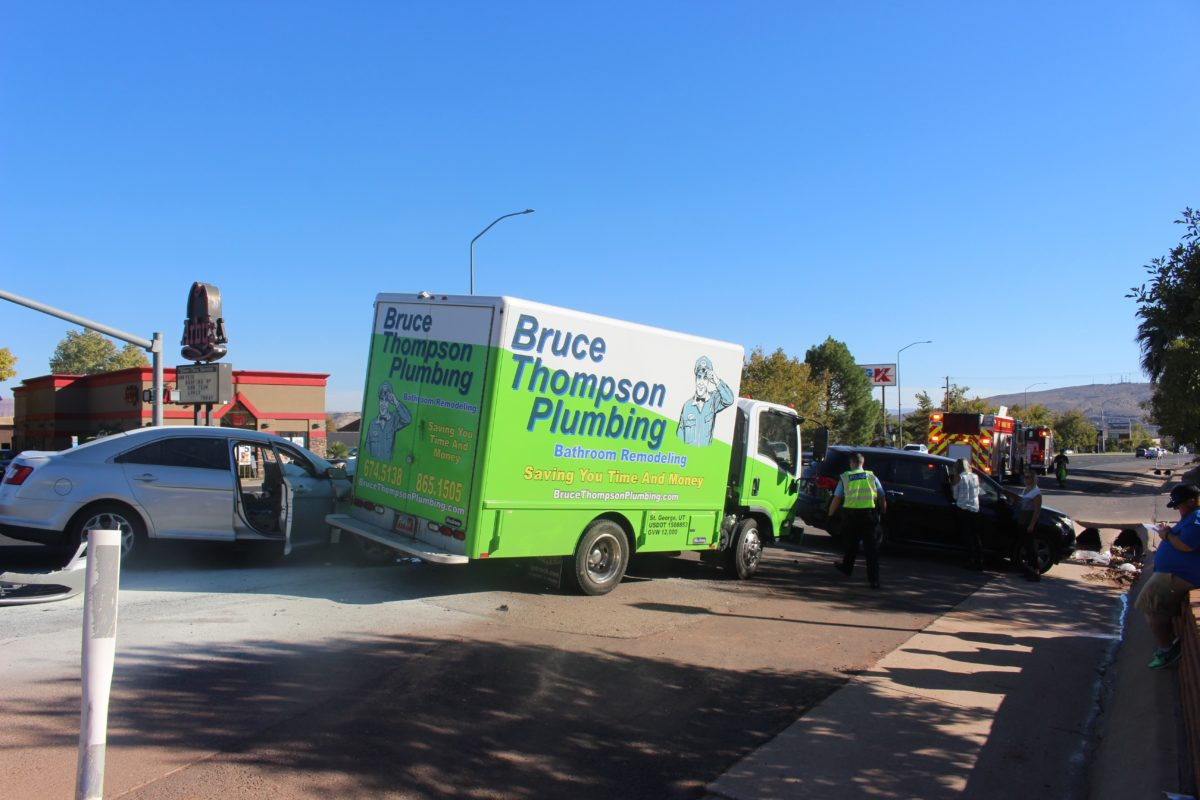 Izusu 'Bruce Thompson Plumbing' truck was involved in a two-car collision on S. Bluff Street Thursday, St. George, Utah, Nov. 10, 2016 | Photo by Cody Blowers, St. George News