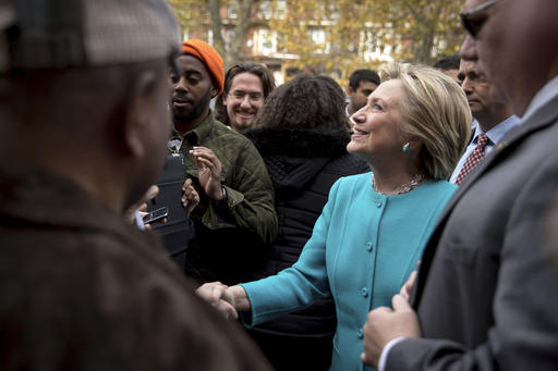 Democratic presidential candidate Hillary Clinton greets people outside Cedar Park Cafe Sunday in Philadelphia, Pennsylvania, Nov. 6, 2016. Photo by AP Photo/Andrew Harnik, St. George News