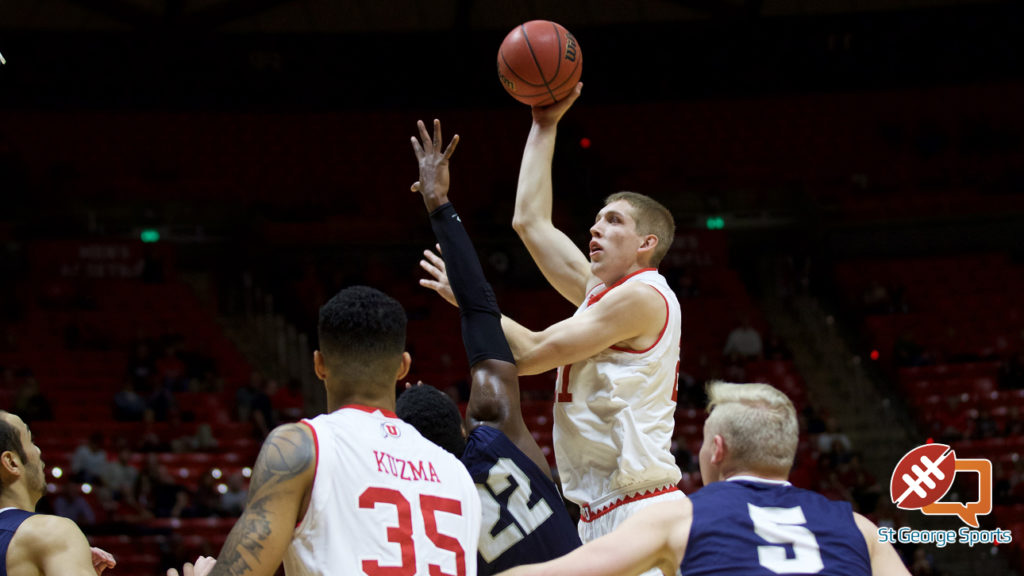 Tyler Rawson takes a shot for the Runnin' Utes, Utah vs. Concordia, Salt Lake City, Utah, Nov. 15, 2016 | Photo courtesy Utah Athletics