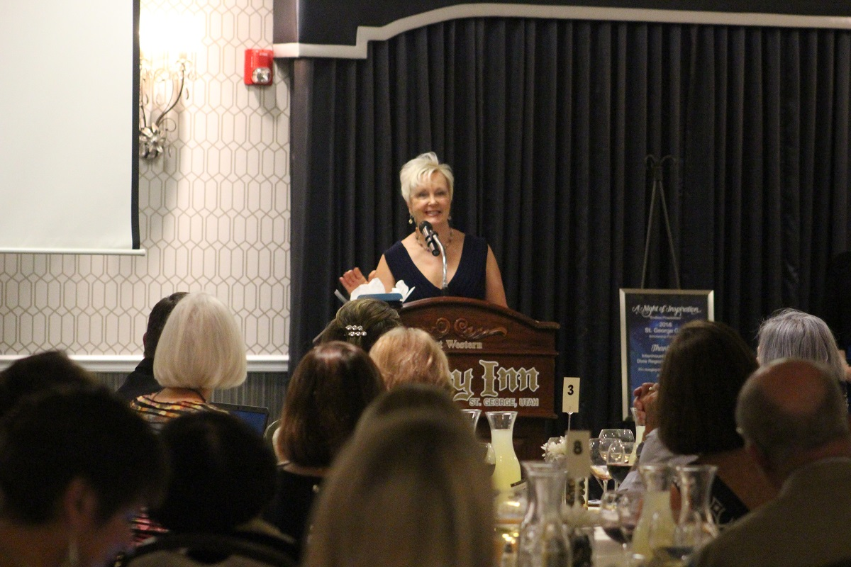 Terri Kane of Intermountain Healthcare and DRMC spoke at the AAUW Fundraising Gala Saturday held at Best Western's Abbey Inn, St. George, Utah, Nov. 5, 2016 | Photo by Cody Blowers, St. George News
