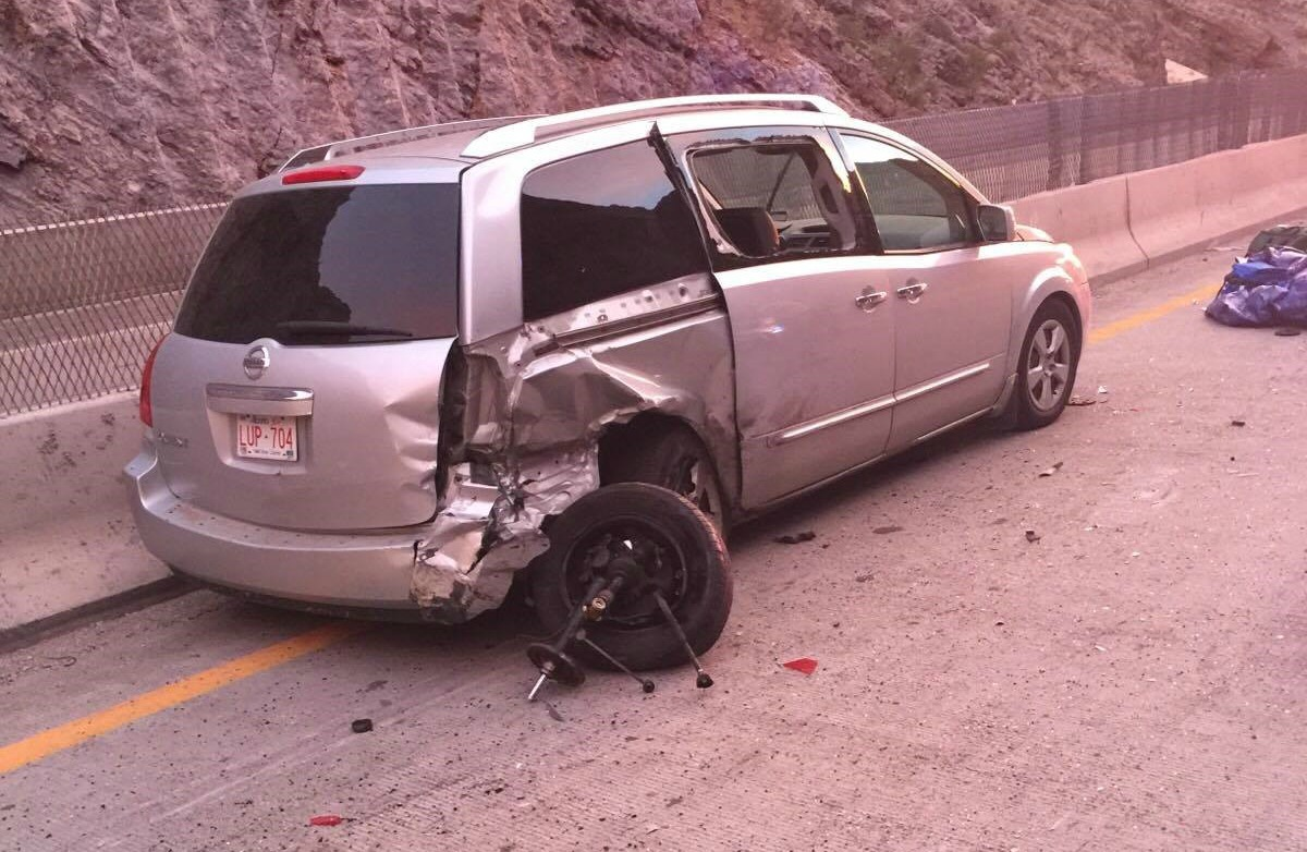 A woman was hit and killed after stepping outside of her vehicle to inspect a blown tire in the Virgin River Gorge, Mohave County, Ariz., Nov. 16, 2016 | Photo courtesy of Arizona Department of Public Safety, St. George News