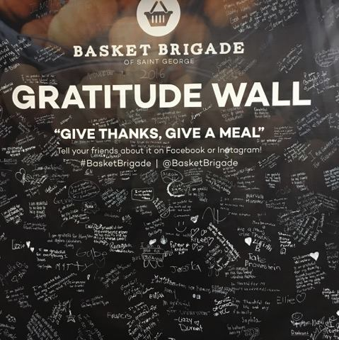 The Gratitude Wall, displayed at the Basket Brigade. St. George, Utah, Nov. 19, 2016 | Photo by Sheldon Demke, St. George News