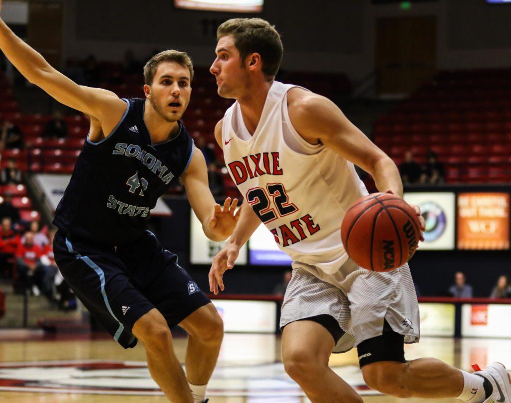 Dixie State's Brandon Miller (22), Dixie State University vs. Sonoma State University, Men's Basketball, St. George, Utah, Nov. 25, 2016, | Photo by Kevin Luthy, St. George News