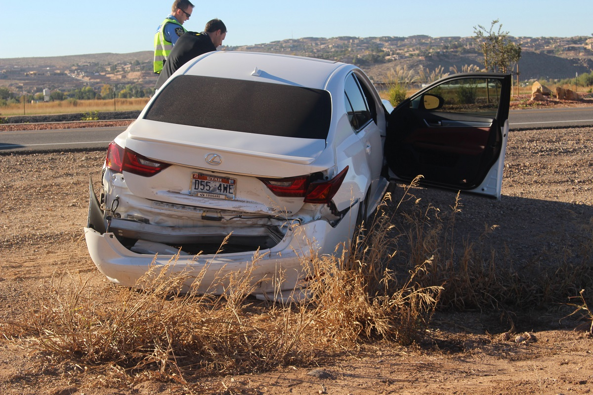 White Lexus was the first car hit in a chain reaction that ended with three damaged vehicles on S. Mall Drive Thursday, St. George, Utah, Nov. 10, 2016   Photo by Cody Blowers, St. George News