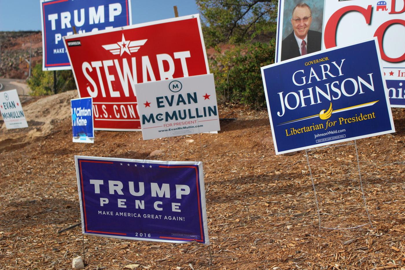 Campaign signs galore at the corner of Bluff Street and Black Ridge Drive, St. George, Utah, Nov. 4, 2016 | Photo by Mori Kessler, St. George News