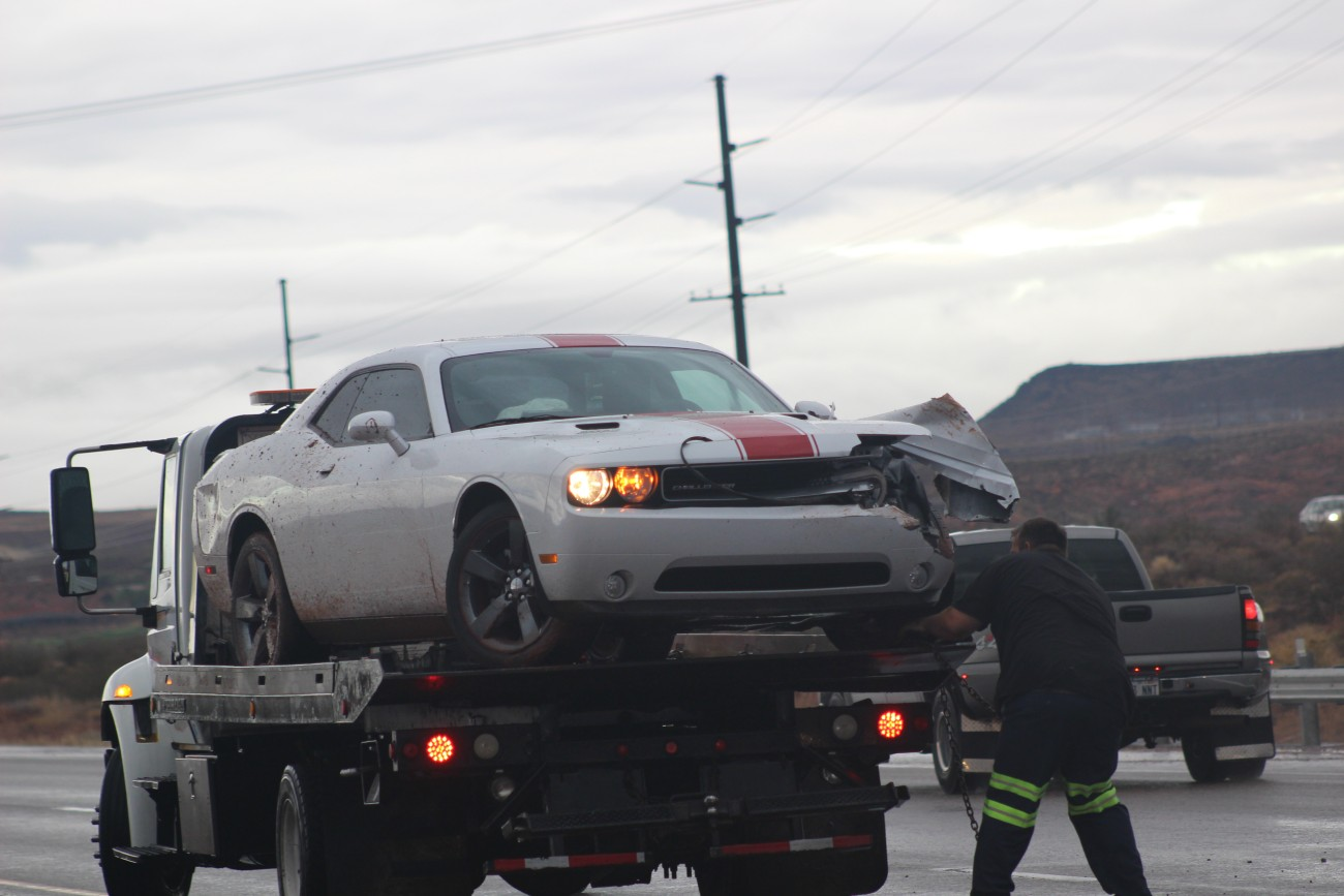Slick road conditions, speed and bald tires are considered factors in the morning crash involving the Dodge Challenger, UHP Sgt. Jake Hick, said, Washington, Utah, Nov. 21, 2016 | Photo by Mori Kessler, St. George News