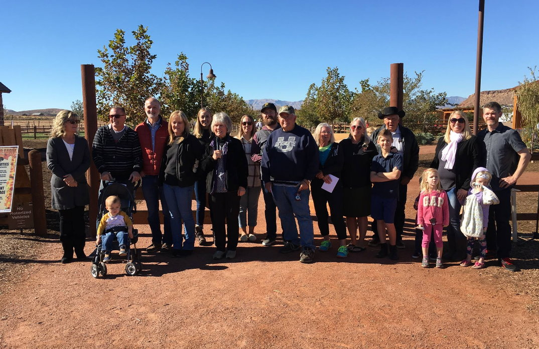 Members of the Seegmiller family who attending the official opening of the Hela Seegmiller Historic Farm. Each are related to the farm's namesake and participated in the ribbon cutting the signified the historic farm's completion opening, St. George, Utah, Nov. 18, 2016 | Photo by Sheldon Demke, St. George News