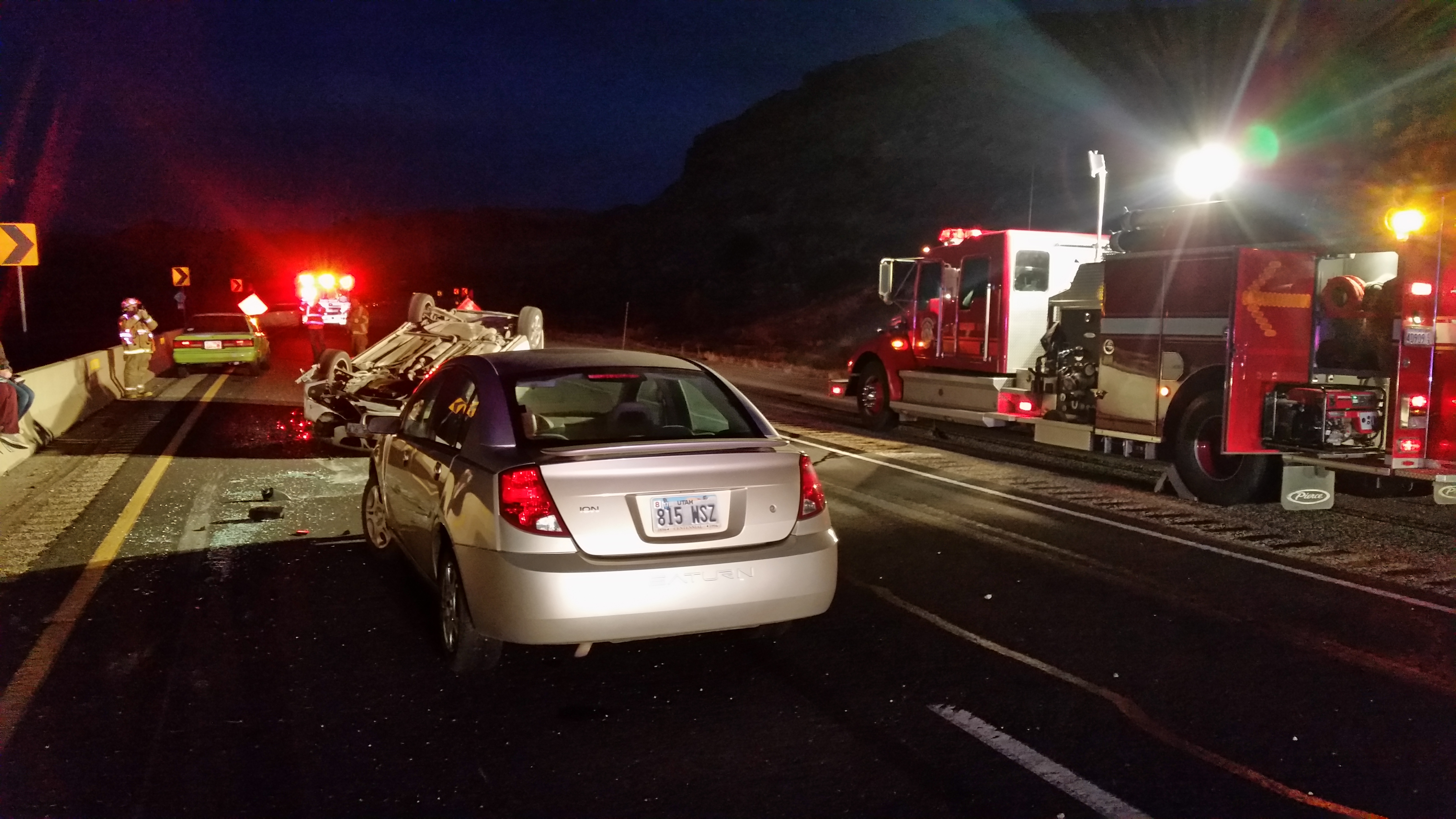 After colliding with a rolled car that had come to rest in the middle of Interstate 15 near milepost 23, a 54-year-old man excited his vehicle and was struck by an oncoming car. The man was transported to the hospital in critical condition, Washington County, Utah, Nov. 1, 2016 | Photo courtesy of the Utah Highway Patrol, St. George News