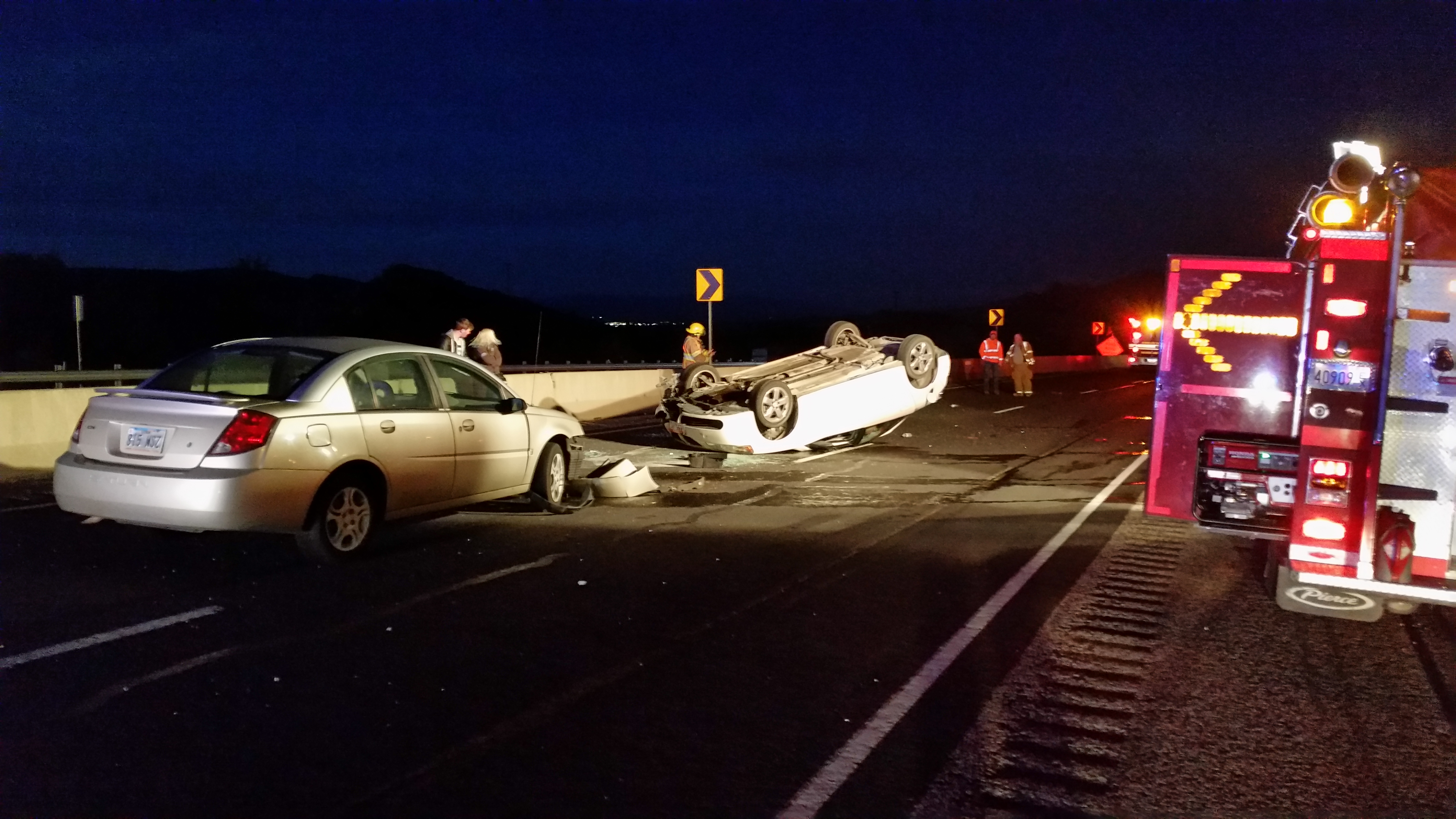 After colliding with a rolled car that had come to rest in the middle of Interstate 15 near milepost 23, a 54-year-old man excited his vehicle and was struck by an oncoming car. The man was transported to the hospital in critical condition, Washington County, Utah, Nov. 1, 2016   Photo courtesy of the Utah Highway Patrol, St. George News