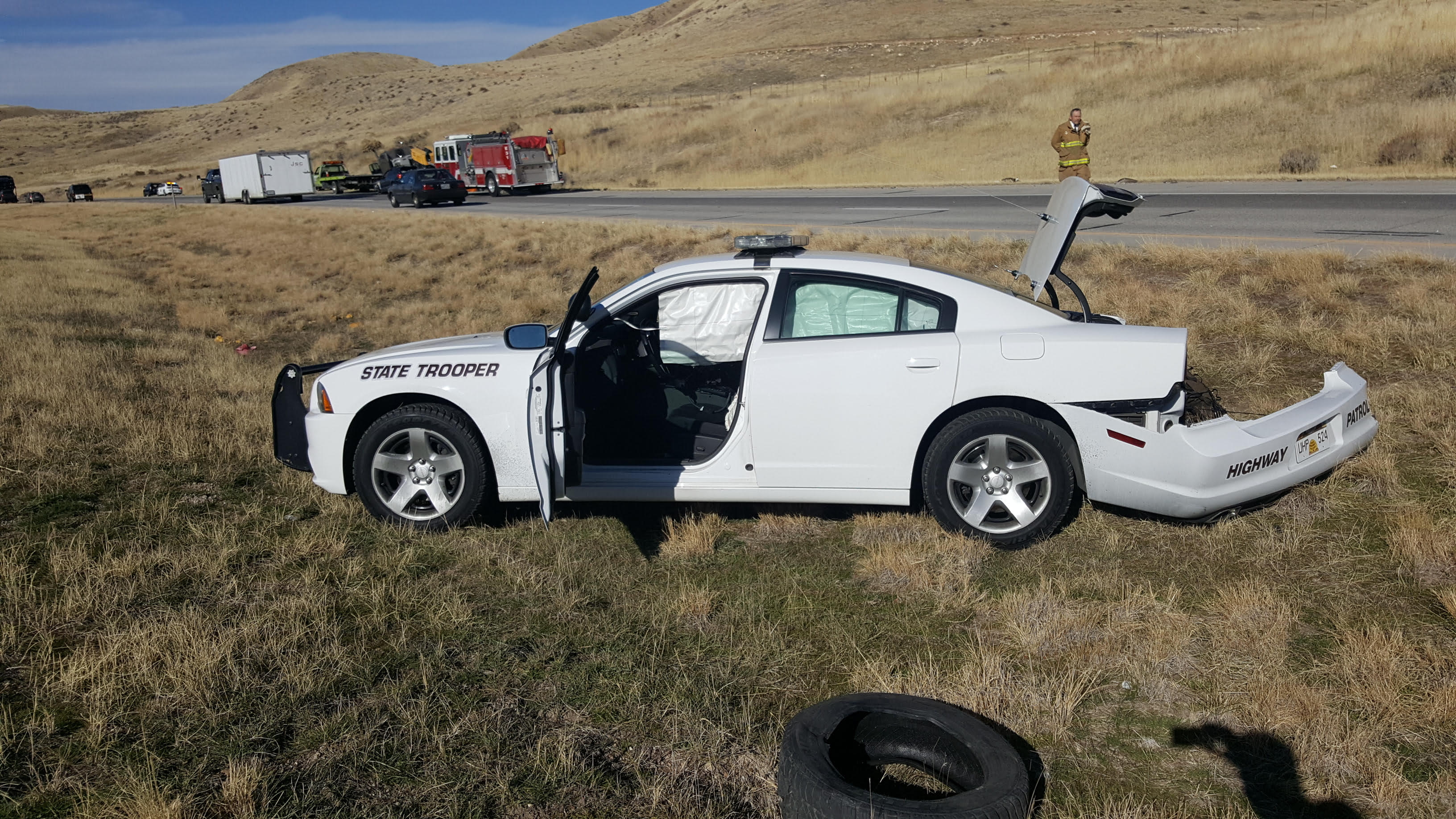 While providing traffic control for a vehicle fire, a UHP trooper's patrol car is struck by a semi on Interstate 84 near milepost 34, Box Elder County, Utah, Nov. 21, 2016 | Photo courtesy of the Utah Highway Patrol, St. George News
