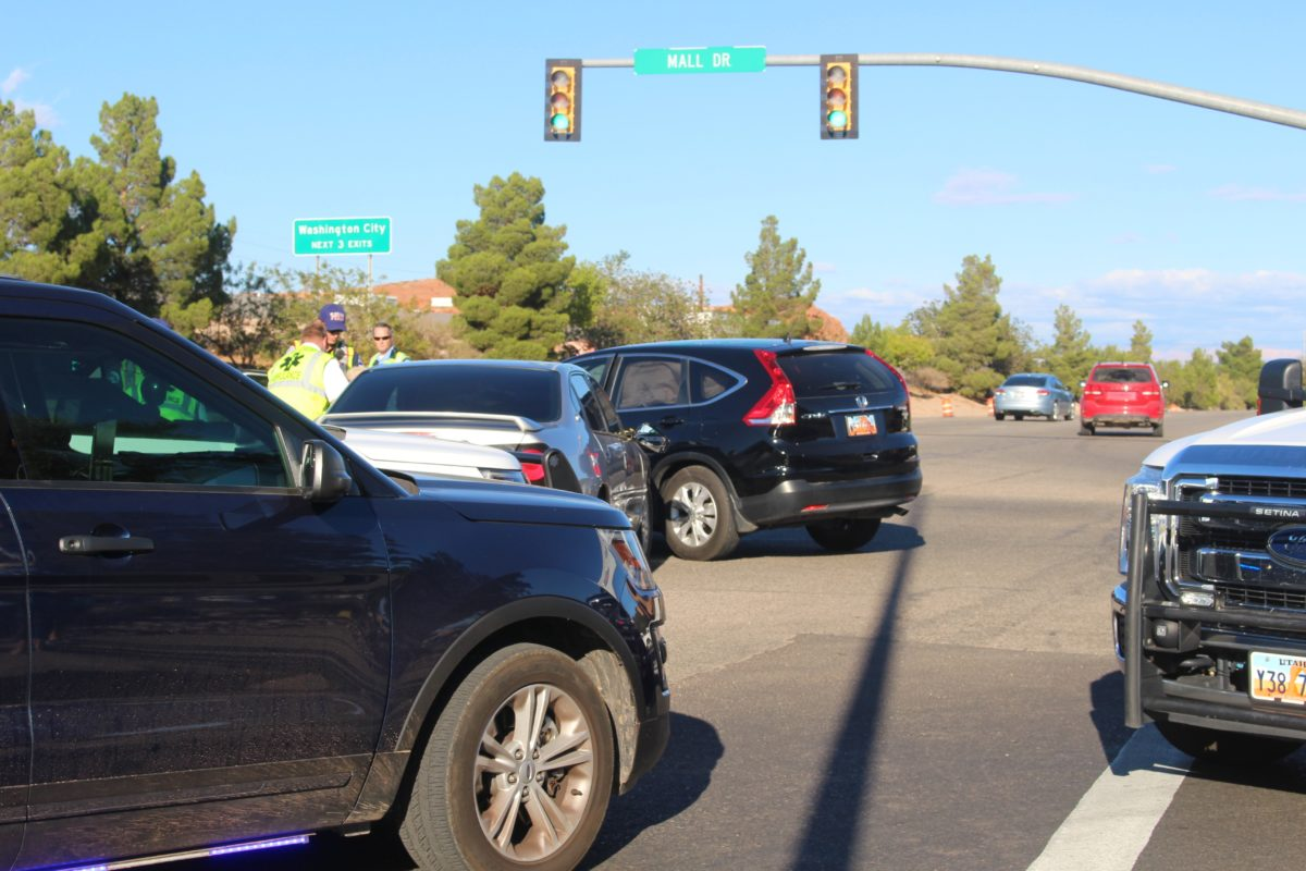 Emergency personnel respond to a two-car collision at the busy intersection of Red Cliffs Drive and N. Mall Drive, St. George, Utah, Nov. 5, 2016 | Photo by Cody Blowers, St. George News
