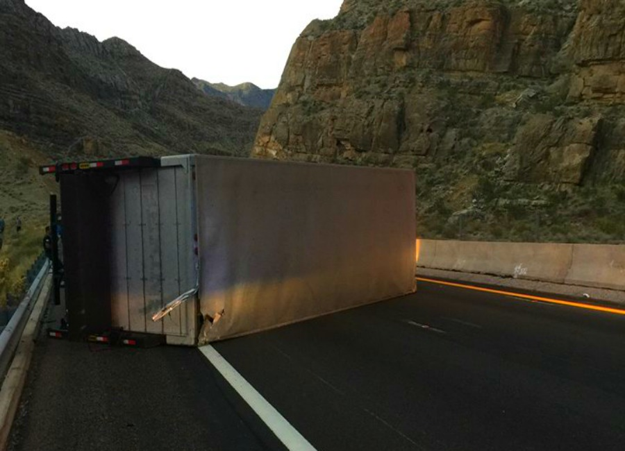 A collision involving a box truck blocks northbound lanes on Interstate 15 through the Virgin River Gorge in Arizona Thursday morning, Nov. 10, 2016 | Photo courtesy of Arizona Department of Public Safety, St. George News