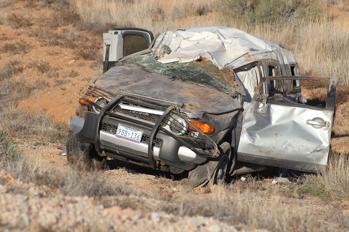 Silver Toyota SUV rolled more than 200 feet off of the roadway after a two-car rollover on Interstate 15 Sunday, Mohave County, Ariz., Nov. 13, 2016 | Photo by Cody Blowers, St. George News