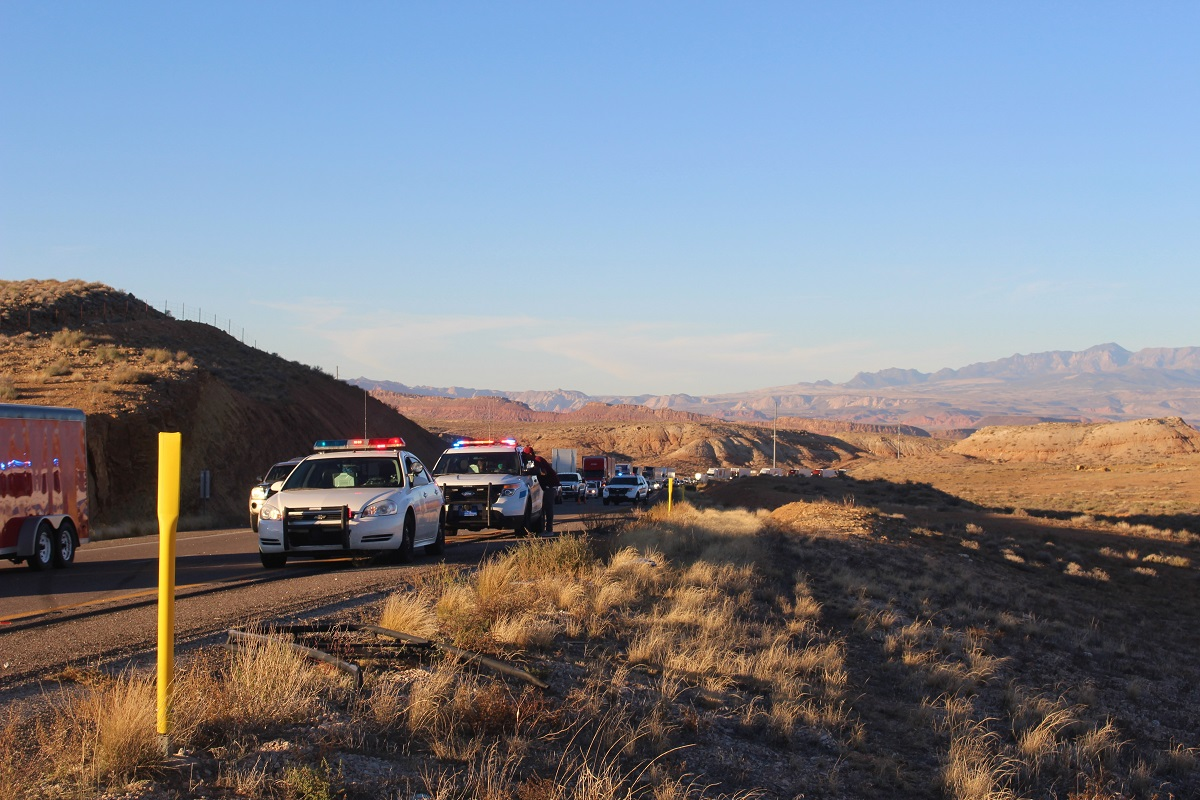 Numerous emergency responders line the Interstate after two-car rollover on Interstate 15 Sunday, Mohave County, Ariz., Nov. 13, 2016 | Photo by Cody Blowers, St. George News