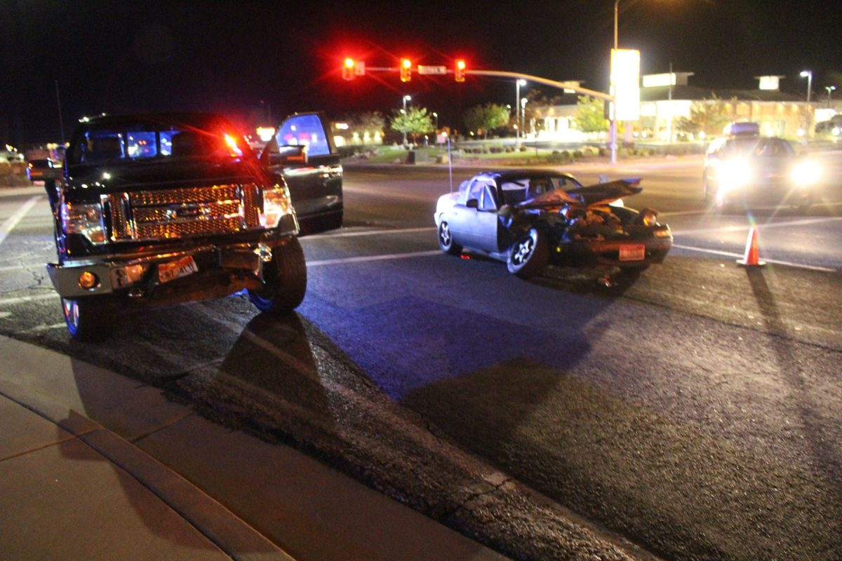 The Ford F-150 sustained frontal damage during the crash, while the Mazda Miata was extensively damaged after a collision caused when a driver failed to yield on West Sunset Boulevard Saturday, St. George, Utah, Nov. 26, 2016 | Photo by Cody Blowers, St. George News