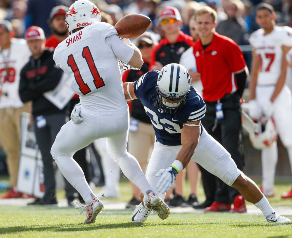 Mike Sharp (11) tries to make a catch as he's hit by Erik Takenaka, SUU at BYU, college football, Provo, Utah, Nov. 12, 2016 | Photo by BYU Photo