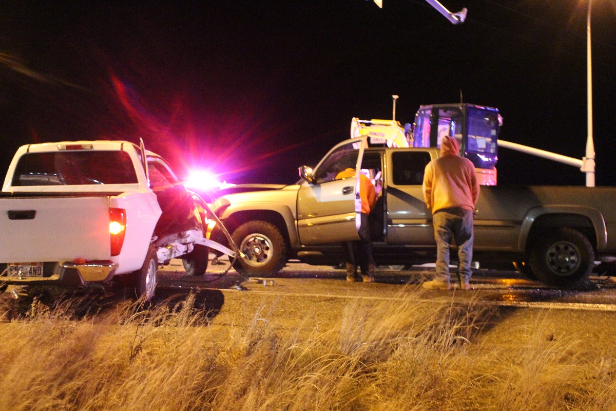 Numerous responders tend to large scene after two-vehicle collision on State Route 9 that left one woman critically injured and the driver in serious condition Thursday evening, Hurricane, Utah, Nov. 17, 2016 | Photo by Cody Blowers, St. George News