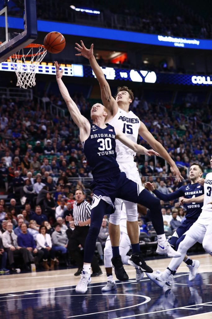 TJ Haws, Utah State vs. BYU at Vivint Smart Home Arena, Salt Lake City, Utah, Nov. 30, 2016 | Photo by BYU Photo