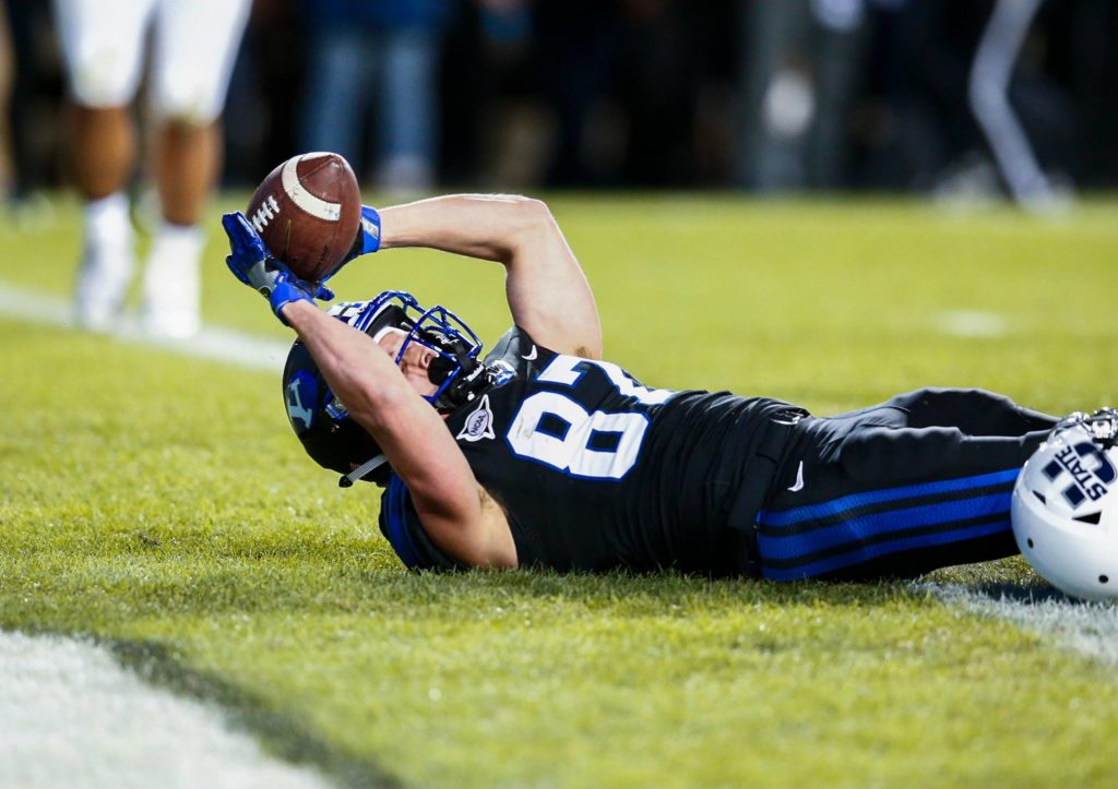 Mitchell Juergens sores a touchdown Saturday night, BYU vs. Utah State, Provo, Utah, Nov. 26, 2016 | Photo by BYU Photo