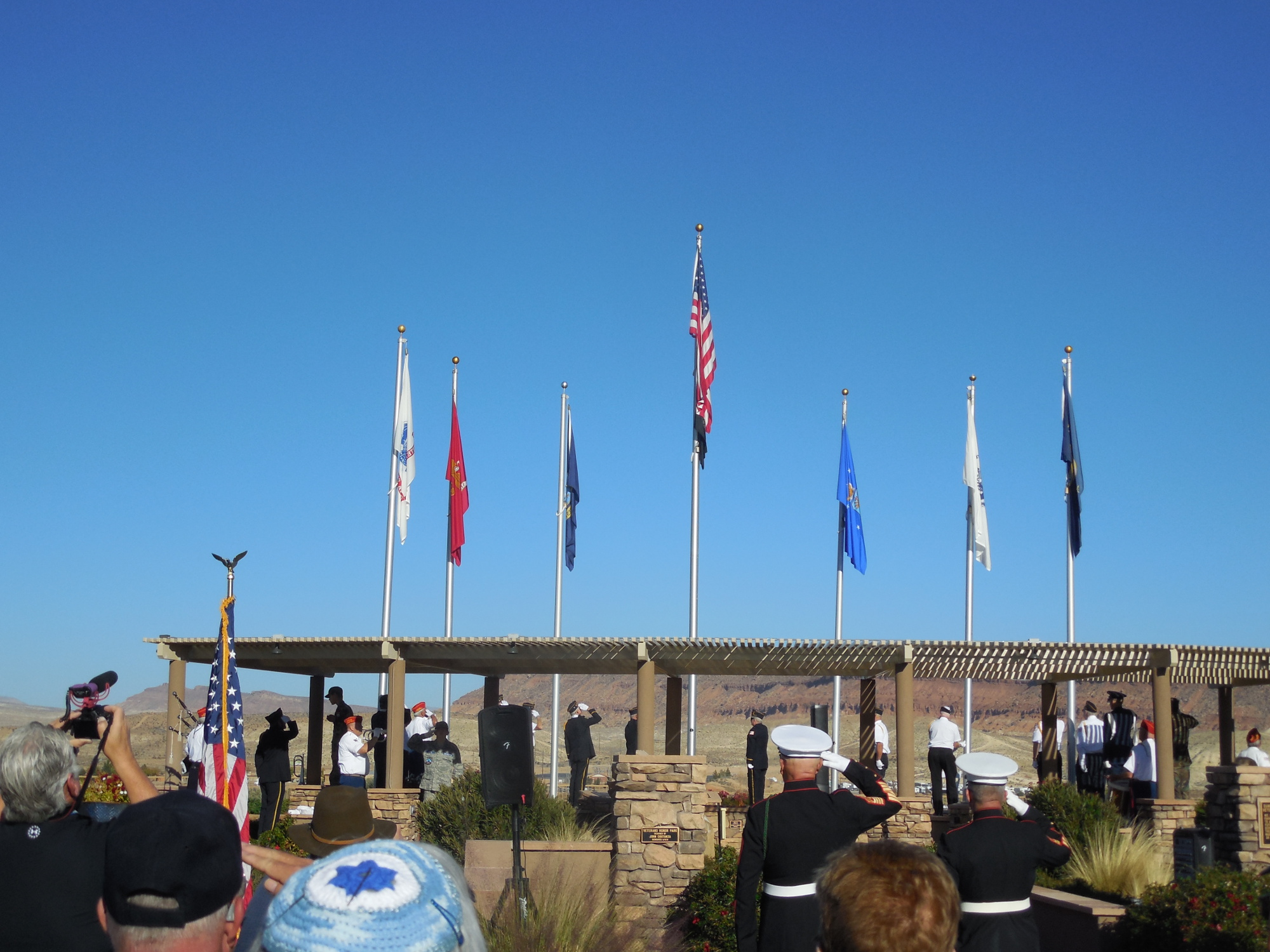Veterans are honored Friday morning at a ceremony at SunRiver St. George Veterans Honor Park, St. George, Utah, Nov. 11, 2016   Photo by Julie Applegate, St. George News